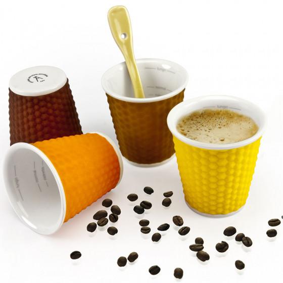 Coffret de 4 gobelets expresso couleurs assorties Nid d'abeille soft avec silicone thermo-protecteur 8cl