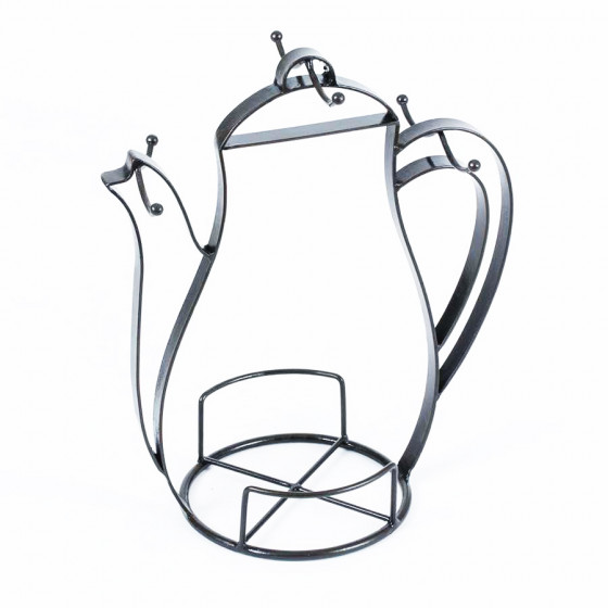 Porte 6 tasses métal forme cafetière