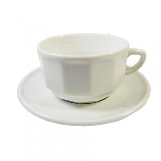 Tasse et sa soucoupe Flora blanc 28cl
