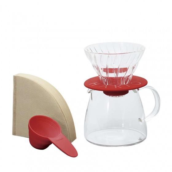 Kit Hario V60 et carafe rouge 2 tasses