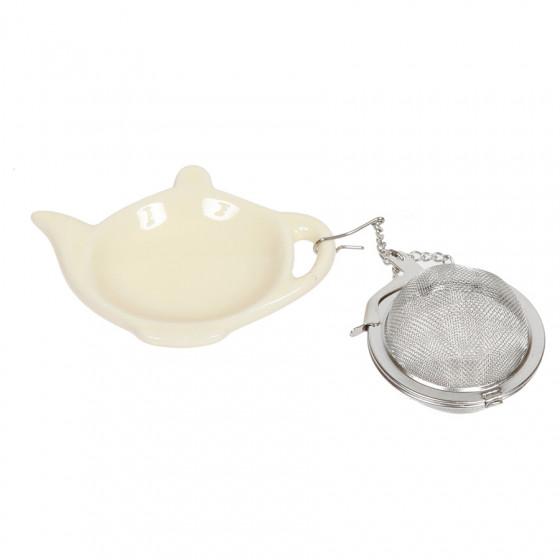Boule à thé et repose sachet théière crème