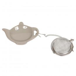 Boule à thé et repose sachet théière taupe