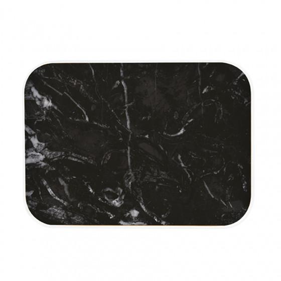 Plateau rectangulaire imitation marbre noir