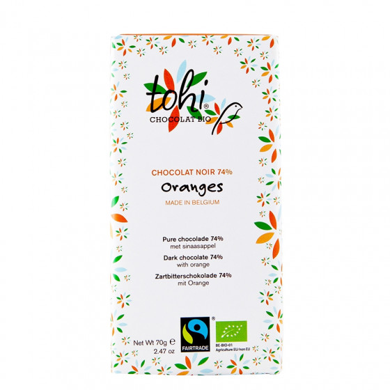 Tablette équitable de chocolat noir 74% orange bio 70g