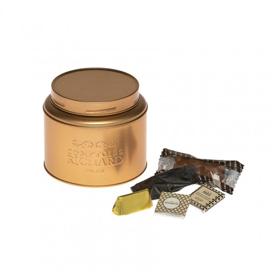 Boîte gourmande cuivrée garnie de chocolats 210g