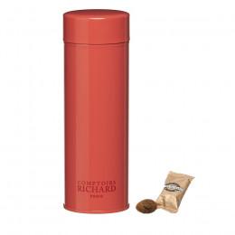 Boîte métal laquée à thé rose garnie d'amandes cacaotées 85g