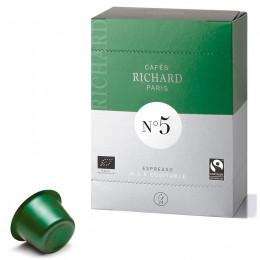 Café expresso capsules premium Bio et équitable n°5 pour machine Ventura Richard x24