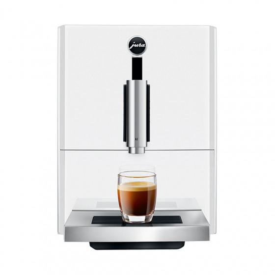 Robot café JURA A1 Piano White et 2 paquets de 250g de café en grains et 4 verres expresso Cafés Richard 5cl offerts