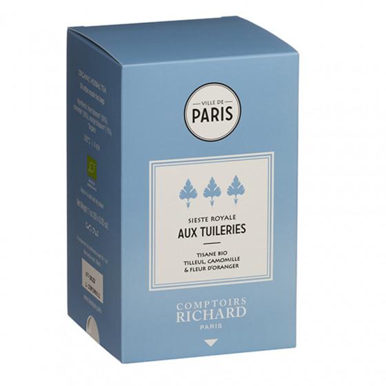 Tisane bio tilleul, camomille & fleur d'oranger Sieste Royale aux Tuileries sachets mousseline x20