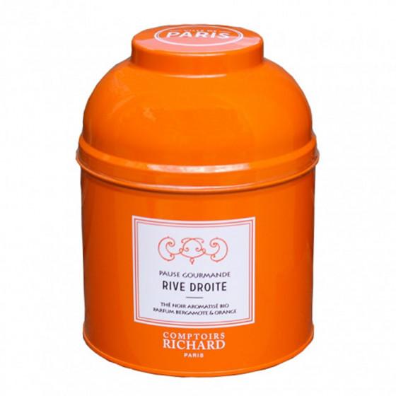 Thé noir aromatisé bio parfum bergamote & orange Pause Gourmande Rive Droite boîte laquée sachets mousseline x15