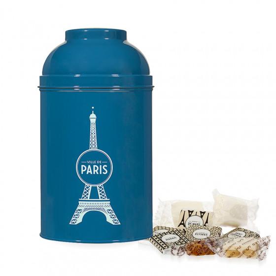 Boîte Tour Eiffel en métal laqué bleu-canard garnie de confiseries 265g