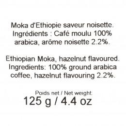 Café moulu Moka d'Ethiopie aromatisé à la noisette 125g