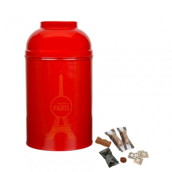 Boîte Tour Eiffel en métal laqué rouge garnie de confiseries 340g
