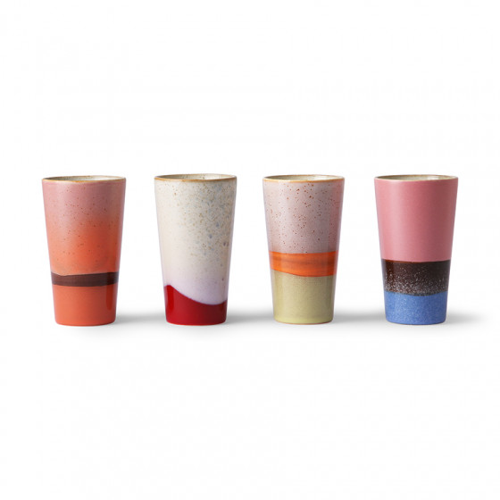 Coffret 4 latte mug multicolore 280ml