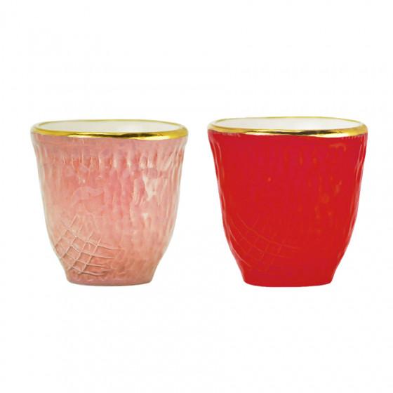 Lot de 2 gobelets rose et rouge 10cl