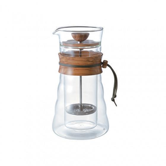 Cafetière à piston double paroi en verre et olivier 3 tasses